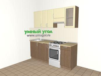 Прямая кухня МДФ матовый 5,0 м², 2000 мм (зеркальный проект), Ваниль / Лиственница бронзовая, верхние модули 720 мм, посудомоечная машина, отдельно стоящая плита