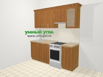 Прямая кухня МДФ матовый в классическом стиле 5,0 м², 200 см (зеркальный проект), Вишня, верхние модули 72 см, посудомоечная машина, отдельно стоящая плита
