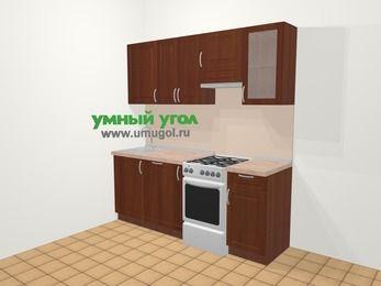 Прямая кухня МДФ матовый в классическом стиле 5,0 м², 200 см (зеркальный проект), Вишня темная, верхние модули 72 см, посудомоечная машина, отдельно стоящая плита