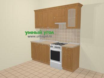 Прямая кухня МДФ матовый в стиле кантри 5,0 м², 200 см (зеркальный проект), Ольха, верхние модули 72 см, посудомоечная машина, отдельно стоящая плита