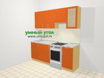 Прямая кухня МДФ металлик в современном стиле 5,0 м², 200 см (зеркальный проект), Оранжевый металлик, верхние модули 72 см, посудомоечная машина, отдельно стоящая плита