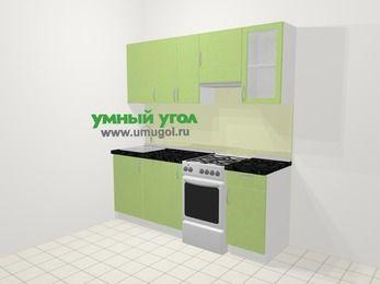 Прямая кухня МДФ металлик в современном стиле 5,0 м², 200 см (зеркальный проект), Салатовый металлик, верхние модули 72 см, посудомоечная машина, отдельно стоящая плита