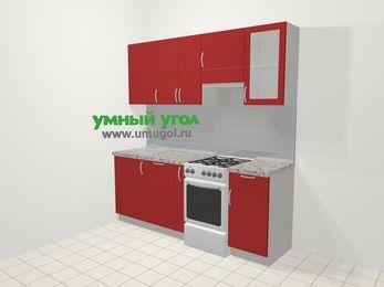Прямая кухня МДФ глянец в современном стиле 5,0 м², 200 см (зеркальный проект), Красный, верхние модули 72 см, посудомоечная машина, отдельно стоящая плита