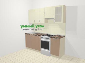 Прямая кухня МДФ глянец в современном стиле 5,0 м², 200 см (зеркальный проект), Жасмин / Капучино, верхние модули 72 см, посудомоечная машина, отдельно стоящая плита