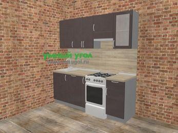 Прямая кухня МДФ глянец в стиле лофт 5,0 м², 200 см (зеркальный проект), Шоколад, верхние модули 72 см, посудомоечная машина, отдельно стоящая плита