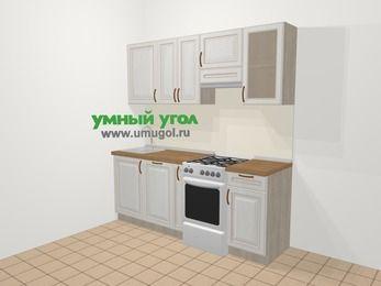 Прямая кухня МДФ патина в классическом стиле 5,0 м², 200 см (зеркальный проект), Лиственница белая, верхние модули 72 см, посудомоечная машина, отдельно стоящая плита