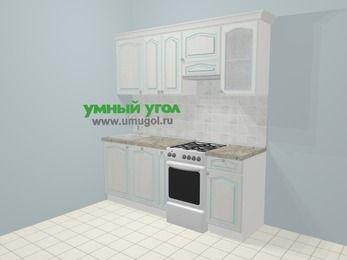 Прямая кухня МДФ патина в стиле прованс 5,0 м², 200 см (зеркальный проект), Лиственница белая, верхние модули 72 см, посудомоечная машина, отдельно стоящая плита