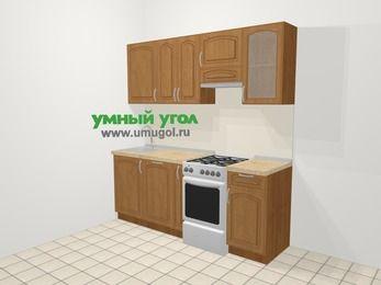 Прямая кухня МДФ патина в классическом стиле 5,0 м², 200 см (зеркальный проект), Ольха, верхние модули 72 см, посудомоечная машина, отдельно стоящая плита