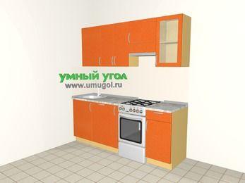 Прямая кухня МДФ металлик 5,0 м², 2000 мм (зеркальный проект), Оранжевый металлик, верхние модули 720 мм, посудомоечная машина, отдельно стоящая плита