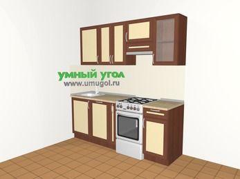 Прямая кухня из рамочного МДФ 5,0 м², 2000 мм (зеркальный проект), Вишня темная / Крем, верхние модули 720 мм, посудомоечная машина, отдельно стоящая плита