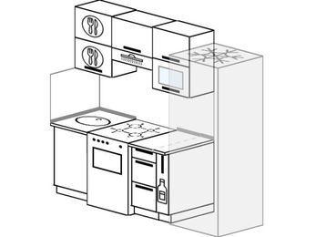 Планировка прямой кухни 5,0 м², 2000 мм (зеркальный проект): верхние модули 720 мм, отдельно стоящая плита, корзина-бутылочница, холодильник