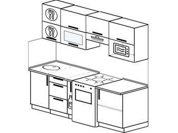 Планировка прямой кухни 5,0 м², 2000 мм (зеркальный проект): верхние модули 720 мм, корзина-бутылочница, отдельно стоящая плита, верхний витринный модуль под свч
