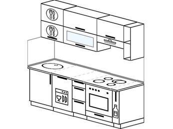 Планировка прямой кухни 5,0 м², 200 см (зеркальный проект): верхние модули 72 см, посудомоечная машина, встроенный духовой шкаф, корзина-бутылочница