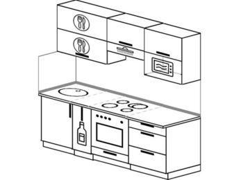 Планировка прямой кухни 5,0 м², 2000 мм (зеркальный проект): верхние модули 720 мм, корзина-бутылочница, встроенный духовой шкаф, верхний витринный модуль под свч