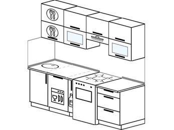 Планировка прямой кухни 5,0 м², 200 см (зеркальный проект): верхние модули 72 см, посудомоечная машина, корзина-бутылочница, отдельно стоящая плита