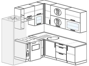 Угловая кухня 5,8 м² (2,0✕2,0 м), верхние модули 92 см, холодильник, отдельно стоящая плита
