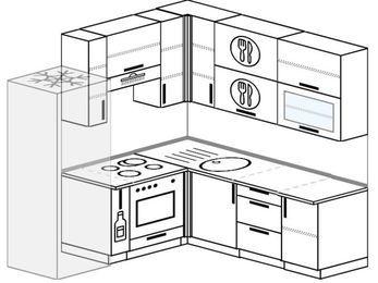 Угловая кухня 5,8 м² (2,0✕2,0 м), верхние модули 92 см, встроенный духовой шкаф, холодильник