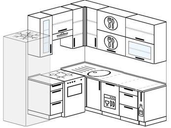 Угловая кухня 5,8 м² (2,0✕2,0 м), верхние модули 92 см, посудомоечная машина, холодильник, отдельно стоящая плита