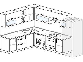 Планировка угловой кухни 8,1 м², 200 на 280 см (зеркальный проект): верхние модули 72 см, посудомоечная машина, корзина-бутылочница, встроенный духовой шкаф, холодильник