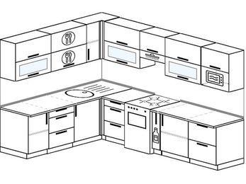 Планировка угловой кухни 8,1 м², 200 на 280 см (зеркальный проект): верхние модули 72 см, отдельно стоящая плита, корзина-бутылочница, модуль под свч