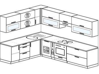 Планировка угловой кухни 8,1 м², 200 на 280 см (зеркальный проект): верхние модули 72 см, посудомоечная машина, корзина-бутылочница, встроенный духовой шкаф