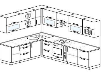 Планировка угловой кухни 8,1 м², 200 на 280 см (зеркальный проект): верхние модули 72 см, встроенный духовой шкаф, корзина-бутылочница, модуль под свч