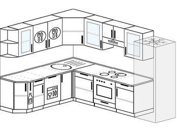 Планировка угловой кухни 8,1 м², 200 на 280 см (зеркальный проект): верхние модули 72 см, корзина-бутылочница, посудомоечная машина, встроенный духовой шкаф, холодильник