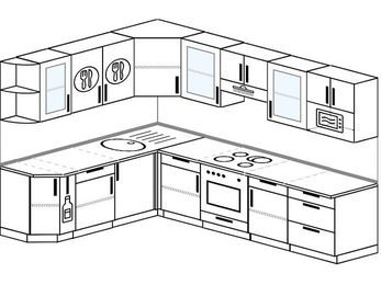 Планировка угловой кухни 8,1 м², 200 на 280 см (зеркальный проект): верхние модули 72 см, корзина-бутылочница, встроенный духовой шкаф, модуль под свч