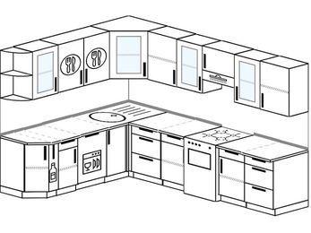 Планировка угловой кухни 8,1 м², 200 на 280 см (зеркальный проект): верхние модули 72 см, корзина-бутылочница, посудомоечная машина, отдельно стоящая плита