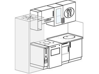 Планировка прямой кухни 5,0 м², 210 см: верхние модули 72 см, холодильник, корзина-бутылочница, отдельно стоящая плита