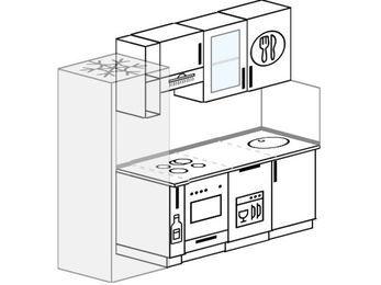 Планировка прямой кухни 5,0 м², 210 см: верхние модули 72 см, холодильник, корзина-бутылочница, встроенный духовой шкаф, посудомоечная машина
