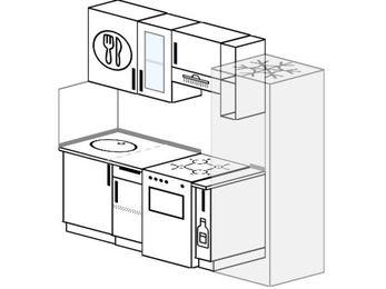 Планировка прямой кухни 5,0 м², 210 см (зеркальный проект): верхние модули 72 см, отдельно стоящая плита, корзина-бутылочница, холодильник