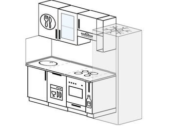Планировка прямой кухни 5,0 м², 210 см (зеркальный проект): верхние модули 72 см, посудомоечная машина, встроенный духовой шкаф, корзина-бутылочница, холодильник