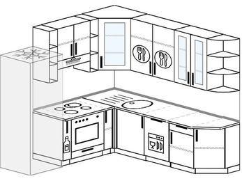 Угловая кухня 6,7 м² (2,1✕2,3 м), верхние модули 92 см, посудомоечная машина, встроенный духовой шкаф, холодильник