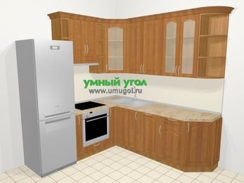 Угловая кухня МДФ матовый в классическом стиле 6,7 м², 210 на 230 см, Вишня, верхние модули 92 см, посудомоечная машина, встроенный духовой шкаф, холодильник