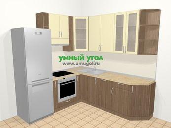 Угловая кухня МДФ матовый в современном стиле 6,7 м², 210 на 230 см, Ваниль / Лиственница бронзовая, верхние модули 92 см, посудомоечная машина, встроенный духовой шкаф, холодильник