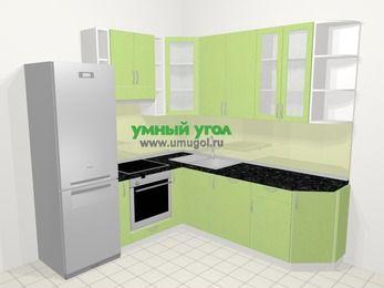 Угловая кухня МДФ металлик в современном стиле 6,7 м², 210 на 230 см, Салатовый металлик, верхние модули 92 см, посудомоечная машина, встроенный духовой шкаф, холодильник