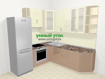 Угловая кухня МДФ глянец в современном стиле 6,7 м², 210 на 230 см, Жасмин / Капучино, верхние модули 92 см, посудомоечная машина, встроенный духовой шкаф, холодильник