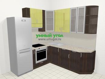 Кухни пластиковые угловые в современном стиле 6,7 м², 210 на 230 см, Желтый Галлион глянец / Дерево Мокка, верхние модули 92 см, посудомоечная машина, встроенный духовой шкаф, холодильник