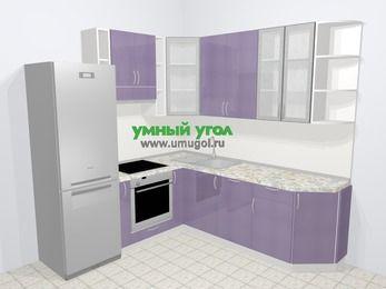 Кухни пластиковые угловые в современном стиле 6,7 м², 210 на 230 см, Сиреневый глянец, верхние модули 92 см, посудомоечная машина, встроенный духовой шкаф, холодильник