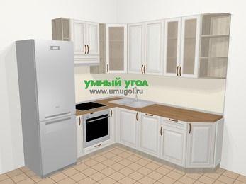 Угловая кухня МДФ патина в классическом стиле 6,7 м², 210 на 230 см, Лиственница белая, верхние модули 92 см, посудомоечная машина, встроенный духовой шкаф, холодильник