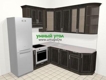 Угловая кухня МДФ патина в классическом стиле 6,7 м², 210 на 230 см, Венге, верхние модули 92 см, посудомоечная машина, встроенный духовой шкаф, холодильник