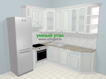 Угловая кухня МДФ патина в стиле прованс 6,7 м², 210 на 230 см, Лиственница белая, верхние модули 92 см, посудомоечная машина, встроенный духовой шкаф, холодильник