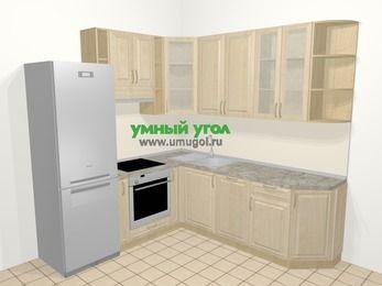 Угловая кухня из массива дерева в классическом стиле 6,7 м², 210 на 230 см, Светло-коричневые оттенки, верхние модули 92 см, посудомоечная машина, встроенный духовой шкаф, холодильник