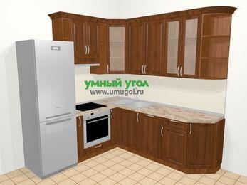 Угловая кухня из массива дерева в классическом стиле 6,7 м², 210 на 230 см, Темно-коричневые оттенки, верхние модули 92 см, посудомоечная машина, встроенный духовой шкаф, холодильник