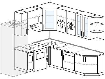 Угловая кухня 6,7 м² (2,1✕2,3 м), верхние модули 92 см, холодильник, отдельно стоящая плита