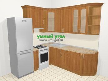 Угловая кухня МДФ матовый в классическом стиле 6,7 м², 210 на 230 см, Вишня, верхние модули 92 см, холодильник, отдельно стоящая плита