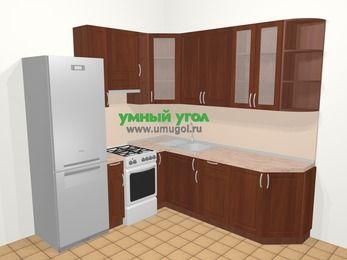 Угловая кухня МДФ матовый в классическом стиле 6,7 м², 210 на 230 см, Вишня темная, верхние модули 92 см, холодильник, отдельно стоящая плита