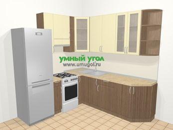 Угловая кухня МДФ матовый в современном стиле 6,7 м², 210 на 230 см, Ваниль / Лиственница бронзовая, верхние модули 92 см, холодильник, отдельно стоящая плита