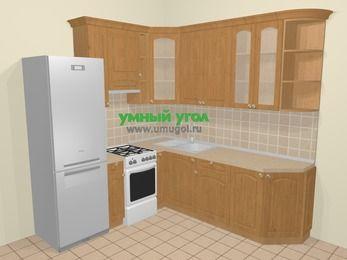 Угловая кухня МДФ матовый в стиле кантри 6,7 м², 210 на 230 см, Ольха, верхние модули 92 см, холодильник, отдельно стоящая плита